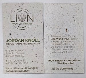 Lion World Travel Eco-Friendly Business Card